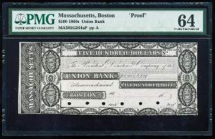 1860's $500 Union Bank Boston, MA Proof Obsolete Note