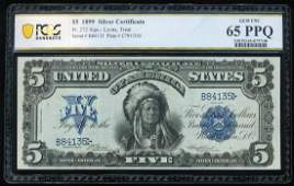 1899 $5 Indian Chief Silver Certificate Note Fr.272