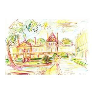 """Ensrud """"Chateau Beychevelle (Bordeaux)"""" Original Pencil"""