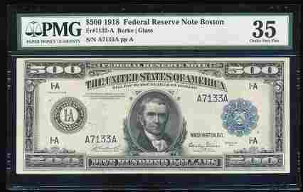 1918 $500 Federal Reserve Note Boston Fr.1132-A PMG