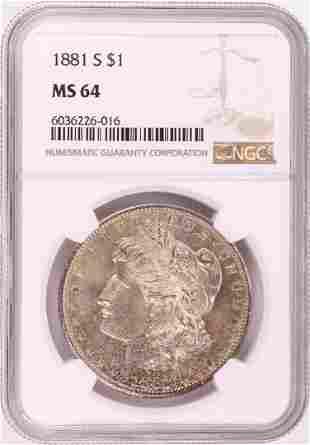 1881-S $1 Morgan Silver Dollar Coin NGC MS64 Nice