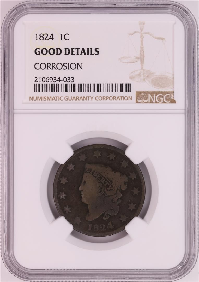 1824 Coronet Head Large Cent Coin NGC Good Details