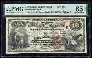 1882BB $10 Gettysburg, PA CH# 611 National Currency