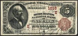 1882 BB $5 Merchants NB of Newark, NJ CH# 1818 National