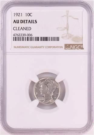 1921 Mercury Dime Coin NGC AU Details