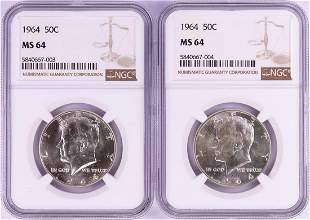 Lot of (2) 1964 Kennedy Half Dollar Coins NGC MS64