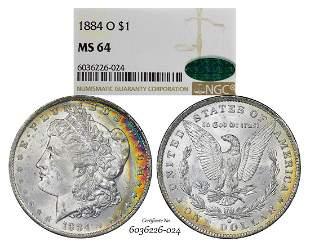 1884-O $1 Morgan Silver Dollar Coin NGC MS64 CAC