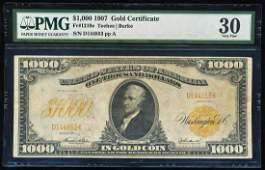 1907 $1,000 Gold Certificate Note Fr.1219e PMG Very