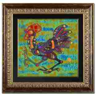 """Hong """"Earth Rooster"""" Original Mixed Media on Rice Paper"""