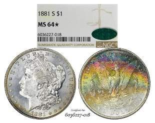 1881-S $1 Morgan Silver Dollar Coin NGC MS64* Star CAC