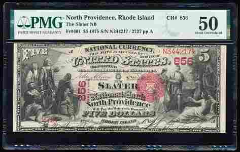 1875 $5 First Charter Slater NB North Providence, RI