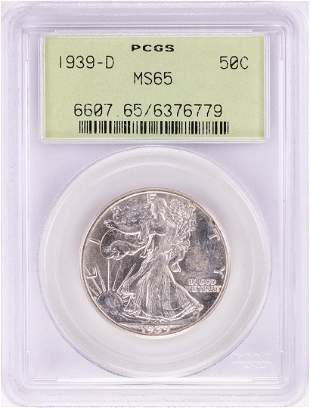 1939-D Walking Liberty Half Dollar Coin PCGS MS65 Old