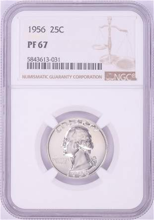 1956 Proof Washington Quarter Coin NGC PF67