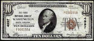 1929 $10 First NB of Washington, North Carolina CH#