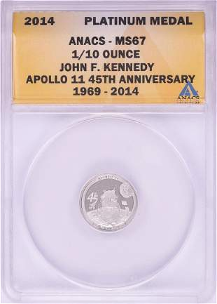 2014 Proof 1/10 oz Platinum JFK Apollo 11 Anniversary
