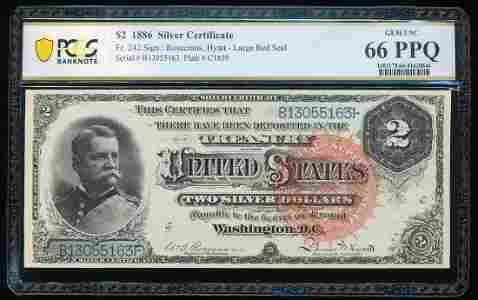 1886 $2 Silver Certificate Note Fr.242 PCGS Gem