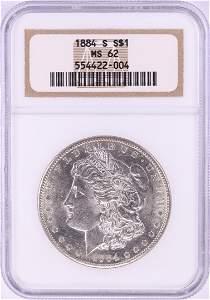 1884-S $1 Morgan Silver Dollar Coin NGC MS62