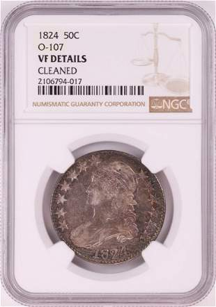 1824 Capped Bust Half Dollar Coin NGC VF Details O-107