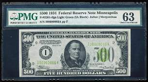 1934 $500 Federal Reserve Note Minneapolis PMG Choice