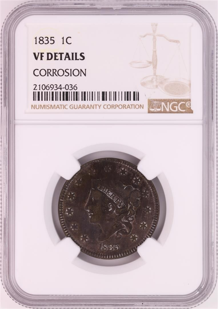 1835 Coronet Head Large Cent Coin NGC VF Details