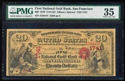 1870 $20 First National Gold Bank, San Francisco CH#