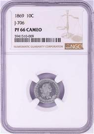 1869 Proof Pattern Dime Coin NGC PF66 Cameo Judd-706