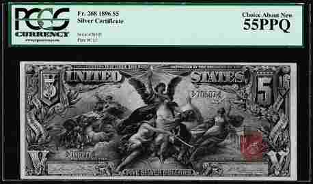 1896 $5 Educational Silver Certificate Note Fr.268 PCGS