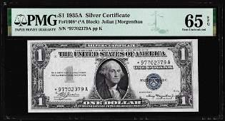 1935A $1 Silver Certificate STAR Note Fr.1608* PMG Gem