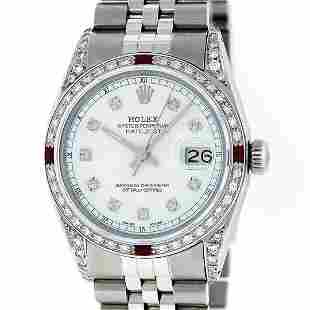 Rolex Men's Stainless Steel Diamond & Ruby Datejust