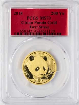 2018 China 200 Yuan Panda Gold Coin PCGS MS70