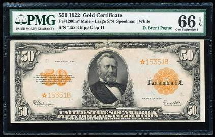 Finest Known 1922 $50 Gold Certificate STAR Note