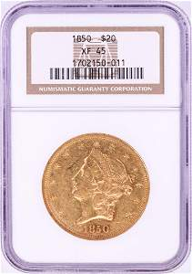 1850 $20 Liberty Head Double Eagle Gold Coin NGC XF45