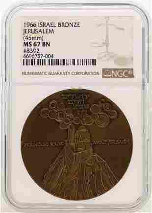 1966 Israel Bronze Official State Medal Jerusalem NGC