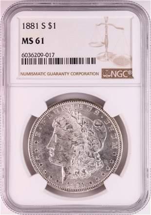 1881-S $1 Morgan Silver Dollar Coin NGC MS61 Great