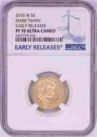 2016-W $5 Proof Mark Twain Commemorative Gold Coin NGC