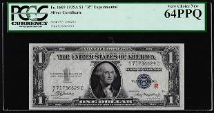 "1935A $1 ""R"" Experimental Silver Certificate Note"