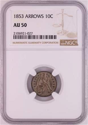 1853 Arrows Seated Liberty Half Dime Coin NGC AU50