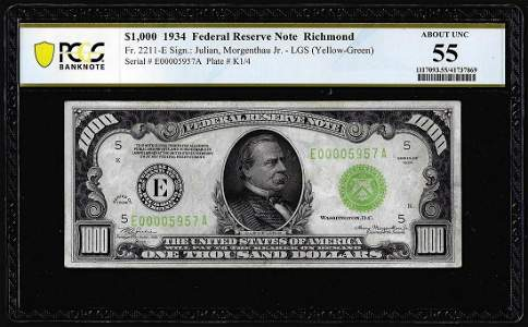 1934 $1,000 Federal Reserve Note Richmond PCGS About