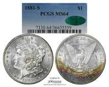 1881-S $1 Morgan Silver Dollar Coin PCGS MS64 CAC