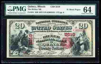 First Charter 1875 $20 Ricker NB of Quincy, IL CH# 2519