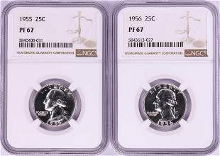 Lot of 1955-1956 Proof Washington Quarter Coins NGC