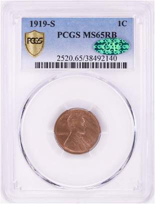 1919-S VDB Lincoln Wheat Cent Coin PCGS MS65RB CAC