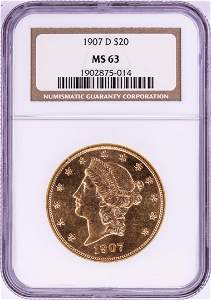 1907-D $20 Liberty Head Double Eagle Gold Coin NGC MS63