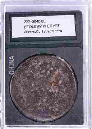 222-204BCE Ptolemy IV Egypt Ancient Coin