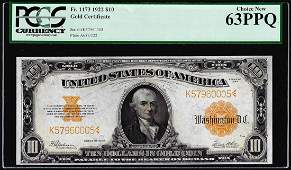 1922 $10 Gold Certificate Note Fr.1173 PCGS Choice New