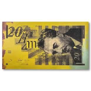 """Steve Kaufman (1960-2010) """"Isreal 20 Shekel Note Bill"""""""
