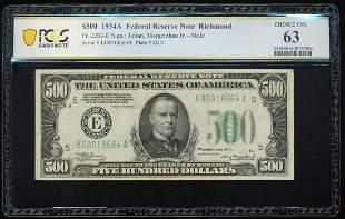 1934A $500 Federal Reserve Note Richmond Fr.2202-E PCGS