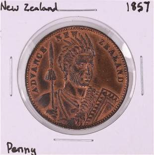 1857 New Zealand Miller and Thompson Penny Coin