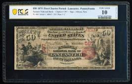 First Charter 1875 $50 NB of Lancaster, PA CH# 597