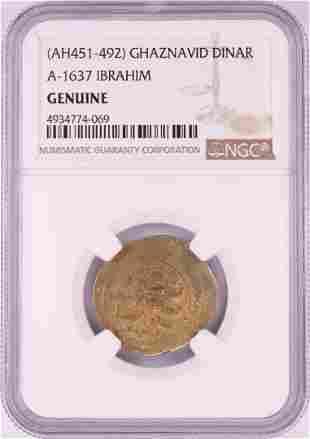 AH451-492 Ghaznavid Dinar A-1637 Ibrahim Gold Coin NGC